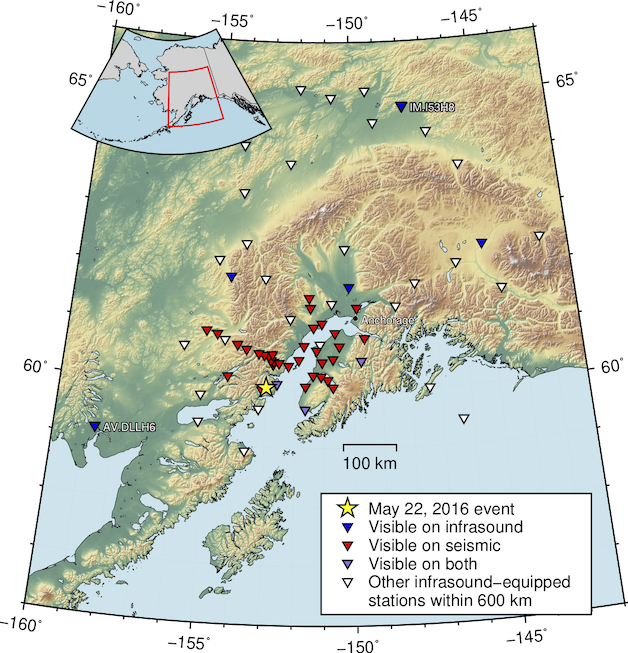 Station map. Blue and red markers denote stations where signal was readily observed on infrasound and seismic sensors, respectively. Purple stations have co-located infrasound and seismic sensors and recorded both signals.
